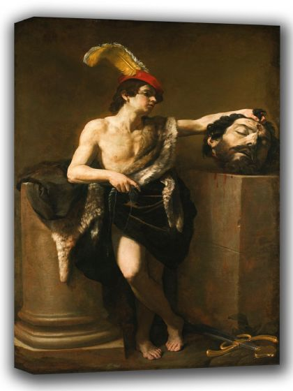 Reni, Guido: David with the Head of Goliath. Fine Art Canvas. Sizes: A4/A3/A2/A1 (002095)